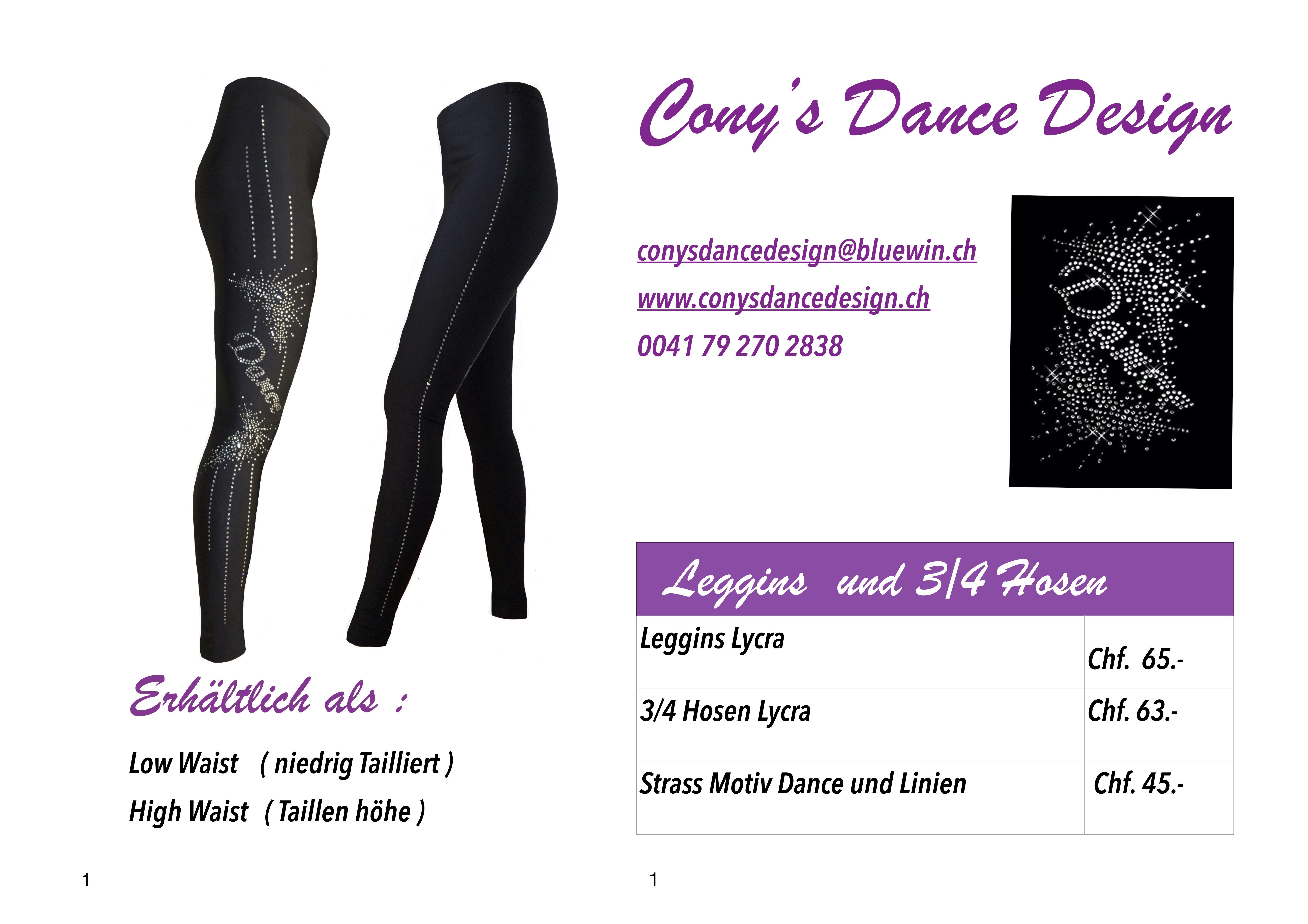 Schwarze Lycra Leggins oder 3/4 Hose , mit Strass Motiv Dance , aus Kristall silber und  Strass Streifen . 100% Made in Switzerland von Cony's Dance Design .