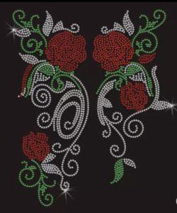 Strass Motiv Rosen mit Blätter grün Cony's Dance Design