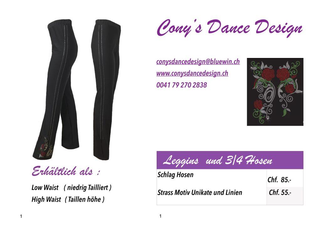 Schlaghose mit Strass Motiven und Streifen Cony's Dance Design